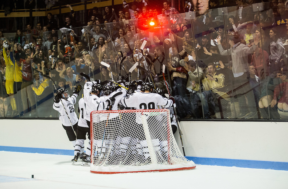Bowdoin College hockey players celebrates a win in a NCAA Division III hockey game between Colby College and Bowdoin College on December 5, 2015 at Sidney J. Watson Arena on the campus of Bowdoin College in Brunswick, ME.  (Dustin Satloff)