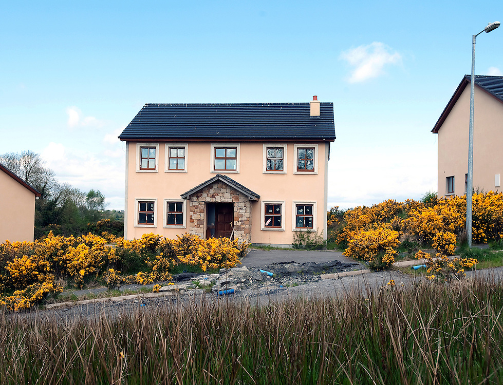 Sli Corglass, a development of 19 detatched houses in a rural part of Co. Longford where only two are occupied.  Construction stopped two years ago on the site.
