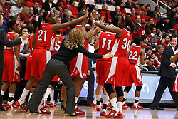 March 19, 2011; Stanford, CA, USA; St. John's Red Storm forward/center Zakiyyah Shahid-Martin (21) and forward Centhya Hart (30) celebrate after the first round of the 2011 NCAA women's basketball tournament against the Texas Tech Lady Raiders at Maples Pavilion. St. John's defeated Texas Tech 55-50.