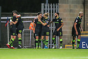 Forest Green Rovers Liam Shephard(2) scores a goal 0-2 and celebrates with his team mates during the EFL Sky Bet League 2 match between Morecambe and Forest Green Rovers at the Globe Arena, Morecambe, England on 22 October 2019.