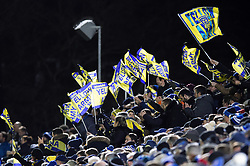 Clermont Auvergne fans in the crowd show their support - Mandatory byline: Patrick Khachfe/JMP - 07966 386802 - 06/12/2019 - RUGBY UNION - The Recreation Ground - Bath, England - Bath Rugby v Clermont Auvergne - Heineken Champions Cup