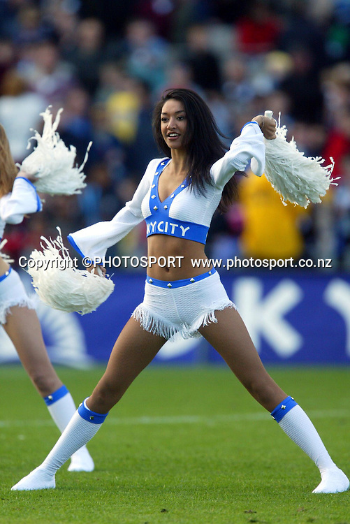 4 April, 2004, Eden Park, Auckland, New Zealand, Super 12 Rugby Union, Auckland Blues v NSW Warratahs.<br />Blues Cheerleader.<br />The Blues defeated the Warraths 22-17<br />Please credit: Andrew Cornaga/Photosport