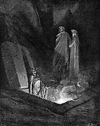 Dante Alighieri (1265-1321) Italian poet: 'Inferno'  first part of his 'Divina Commedia' (Divine Comedy) illustrated by Gustave Dore 1863. Canto X: Dante, keeping close to his guide Virgil, looks on one of the sinners burning in hell in their open tombs. Wood engraving.