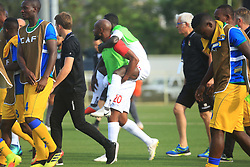 Liverpool's injury woes have become worse with Naby Keita appearing to injure his thigh while playing for the Guinea in the Africa Cup of Nations.<br /> <br /> Keita started the Africa Cup of Nations qualifying match in Kigali but was forced off in the first half. A stretcher wasn't available so one of his international team-mates was required to carry him off the pitch on his back.