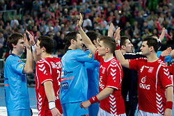 Sebastian Skube and Jure Natek of Slovenia and Bartlomiej Jaszka of Poland after the handball match between National teams of Slovenia and Poland of Qualification Group 3 for Men's EURO 2012, on March 9, 2011 in Arena Stozice, Ljubljana, Slovenia. Slovenia defeated Poland 30-28. (Photo By Vid Ponikvar / Sportida.com)