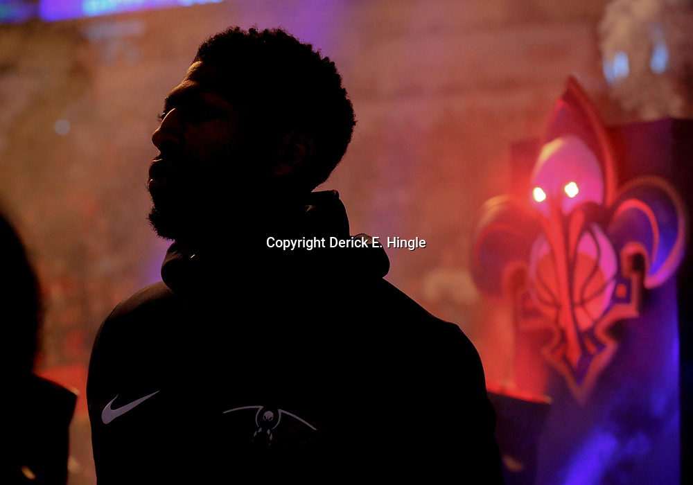 Mar 11, 2018; New Orleans, LA, USA; New Orleans Pelicans forward Anthony Davis is silhouetted as he walks out during introductions before a game against the Utah Jazz at the Smoothie King Center. Mandatory Credit: Derick E. Hingle-USA TODAY Sports