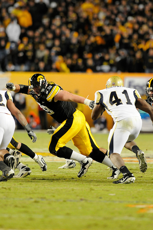 January 5, 2010: Bryan Bulaga of the Iowa Hawkeyes in action during the NCAA football game between the Georgia Tech Yellow Jackets and the Iowa Hawkeyes in the FedEx Orange Bowl at LandShark Stadium in Miami Gardens, Florida. The Hawkeyes defeated the Yellow Jackets 24-14.