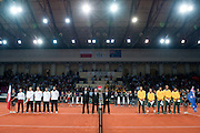 (L) Natonal team of Poland and (R) national team of Australia while national anthem before the BNP Paribas Davis Cup 2013 between Poland and Australia at Torwar Hall in Warsaw on September 13, 2013.<br /> <br /> Poland, Warsaw, September 13, 2013<br /> <br /> Picture also available in RAW (NEF) or TIFF format on special request.<br /> <br /> For editorial use only. Any commercial or promotional use requires permission.<br /> <br /> Photo by &copy; Adam Nurkiewicz / Mediasport