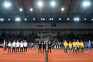 (L) Natonal team of Poland and (R) national team of Australia while national anthem before the BNP Paribas Davis Cup 2013 between Poland and Australia at Torwar Hall in Warsaw on September 13, 2013.<br /> <br /> Poland, Warsaw, September 13, 2013<br /> <br /> Picture also available in RAW (NEF) or TIFF format on special request.<br /> <br /> For editorial use only. Any commercial or promotional use requires permission.<br /> <br /> Photo by © Adam Nurkiewicz / Mediasport