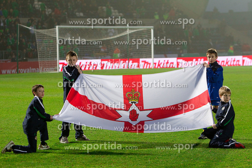 Northern Irish  flag during EURO 2012 Qualifications game between National teams of Slovenia and Northern Ireland, on March 29, 2011, in Windsor Park Stadium, Belfast, Northern Ireland, United Kingdom. (Photo by Vid Ponikvar / Sportida)