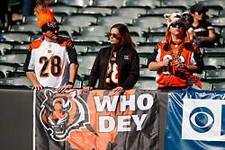 OAKLAND, CA - NOVEMBER 17: Cincinnati Bengals fans watch pregame warmups before the game against the Oakland Raiders at RingCentral Coliseum on November 17, 2019 in Oakland, California. The Oakland Raiders defeated the Cincinnati Bengals 17-10. (Photo by Jason O. Watson/Getty Images) *** Local Caption ***