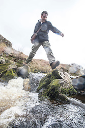 Historian Ashley Cowie at the River Thurso. at the 'The Devil's Gold' in Dirlot, Caithness. He is doing a seven part series for The Scottish Sun on Scotland's treasure hunts at the end of April..©Michael Schofield.