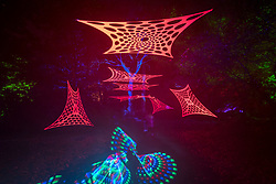 © Licensed to London News Pictures. 11/11/2018. LONDON, UK.  Children play with glow sticks in The Enchanted Woodland which has opened to the public again at Syon House in West London.  An illuminated trail takes visitors through gardens designed by Capability Brown, round an ornamental lake and ends at the spectacular Great Conservatory.   Photo credit: Stephen Chung/LNP