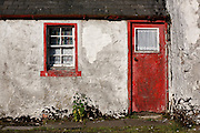 Door and window of House on Mitchell Place, Wanlockhead, Southern Uplands, Scotland