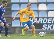 FODBOLD: Magnus Bang (Ølstykke FC) under kampen i DBU Pokalens Indledende runde mellem Ølstykke FC og Lundtofte Boldklub den 21. maj 2019 på Ølstykke Stadion. Foto: Claus Birch