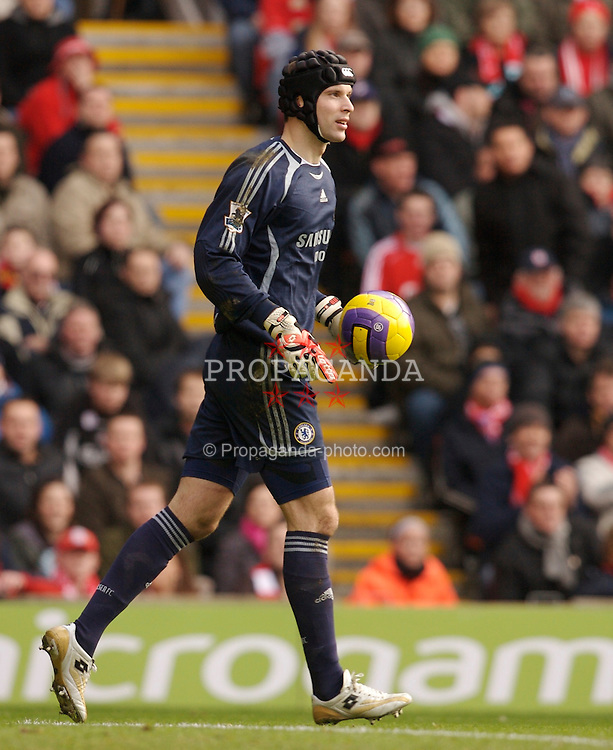 Liverpool, England - Saturday, January 20, 2007: Chelsea's head coach Jose Mourinho, wearing a protective head-guard, during the Premier League match at Anfield. (Pic by David Rawcliffe/Propaganda)