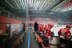 HDD SIJ Jesenice Team during Alps League Ice Hockey match between HK SZ Olimpija and HDD SIJ Jesenice, on February 12, 2019 in Ice Arena Podmezakla, Jesenice, Slovenia. Photo by Peter Podobnik / Sportida