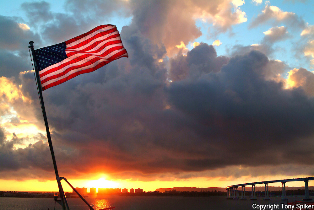 """Sunset From The USS Tarawa"" - The American Flag flies from the stern of the USS Tarawa while docked in San Diego Bay"