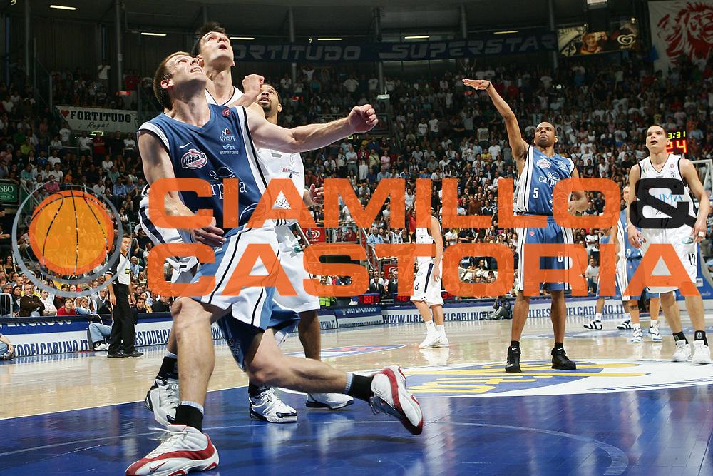 DESCRIZIONE : Bologna Lega A1 2005-06 Play Off Semifinale Gara 5 Climamio Fortitudo Bologna Carpisa Napoli <br /> GIOCATORE : Bagaric Rocca <br /> SQUADRA : Carpisa Napoli <br /> EVENTO : Campionato Lega A1 2005-2006 Play Off Semifinale Gara 5 <br /> GARA : Climamio Fortitudo Bologna Carpisa Napoli <br /> DATA : 11/06/2006 <br /> CATEGORIA : Rimbalzo <br /> SPORT : Pallacanestro <br /> AUTORE : Agenzia Ciamillo-Castoria/S.Silvestri