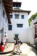 Thursday 14th August 2014: Tourists at the entrance to the Synagogue in Jew Town, Fort Kochi.