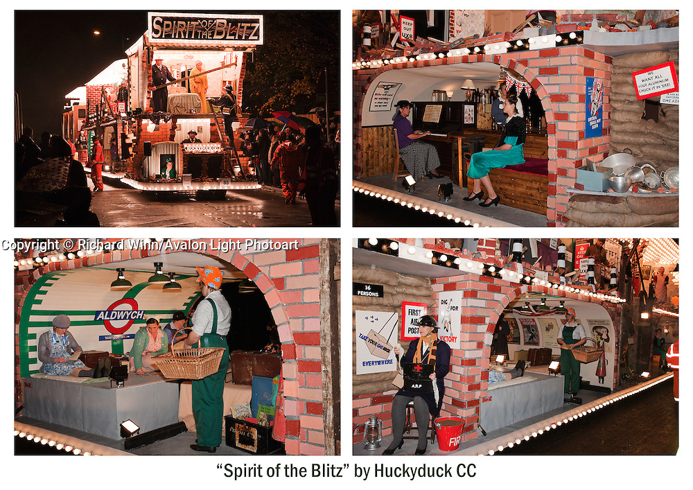 Four photos of the entry by Huckyduck Carnival Club, Spirit of the Blitz, in 2010. One photo showing the standard front three-quarter view at Bridgwater Guy Fawkes Carnival and three showing the detail at Glastonbury and Chilkwell.