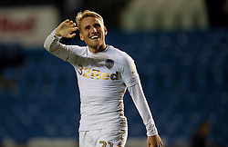 "Leeds United's Samu Saiz celebrates after the Carabao Cup, First Round match at Elland Road, Leeds. PRESS ASSOCIATION Photo. Picture date: Wednesday August 9, 2017. See PA story SOCCER Leeds. Photo credit should read: Richard Sellers/PA Wire. RESTRICTIONS: EDITORIAL USE ONLY No use with unauthorised audio, video, data, fixture lists, club/league logos or ""live"" services. Online in-match use limited to 75 images, no video emulation. No use in betting, games or single club/league/player publications."