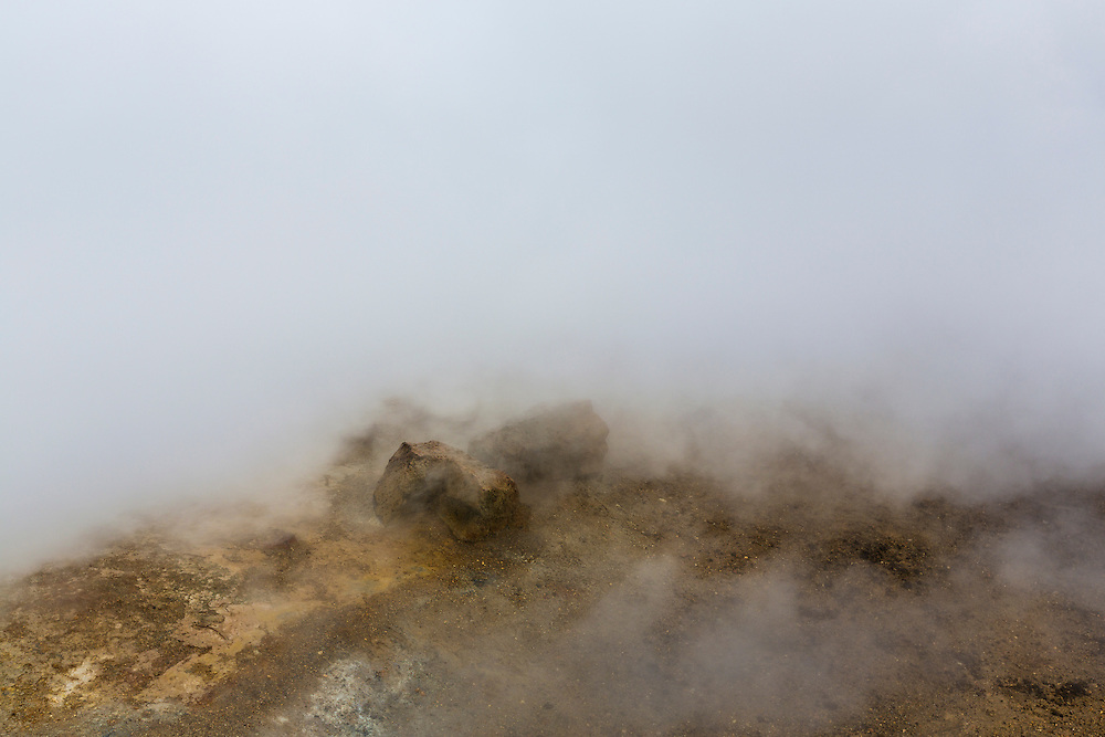 Mist covering Icelandic landscape