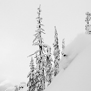 Tyler Hatcher makes some steep angle powder turns in the Cascades of Washington as a snow storm begins to clear.