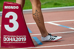 04-10-2019 QAT: World Championships Athletics, Doha<br /> The 2019 IAAF World Athletics Championships is the seventeenth edition of the biennial, global athletics competition organized by the International Association of Athletics Federations / Joris van Gool NED, tattoo