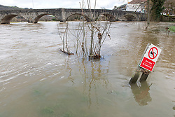 © Licensed to London News Pictures. 23/02/2020. Builth Wells, Powys, Wales, UK. River levels continue to rise in Wales as the river Wye breaches it's banks at Builth Wells in Powys, UK. Photo credit: Graham M. Lawrence/LNP