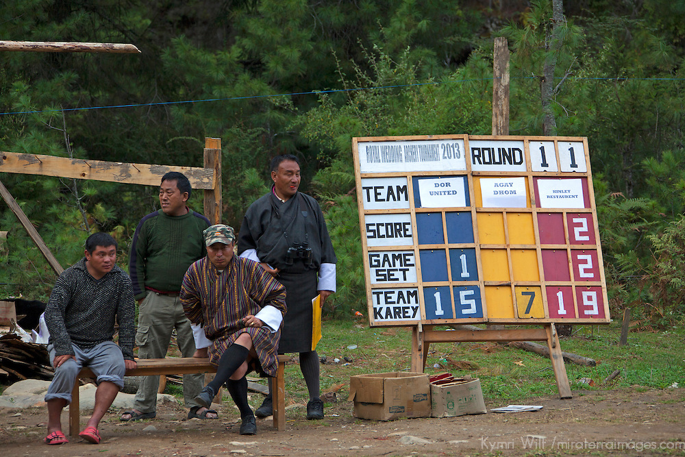 Asia, Bhutan, Bumthang. Archery scoreboard and spectators of Bhutan.