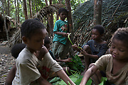 Maniq children play a game using leaves in their temporary settlement. Very few Maniq children go to school so their spend their days in the forest learning from their elders.<br /> <br /> Evidence suggests that the Maniq, a Negrito tribe of hunters and gatherers, have inhabited the Malay Peninsula for around 25,000 years. Today a population of approximately 350 maniq remain, marooned on a forest covered mountain range in Southern Thailand. Whilst some have left their traditional life forming small villages, the majority still live the way they have for millennia, moving around the forest following food sources. <br /> <br /> Quiet and reclusive they are little known even in Thailand itself but due to rapid deforestation they are finding it harder to survive on the forest alone and are slowly being forced to move to its peripheries closer to Thai communities.