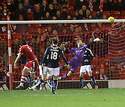 Dundee keeper Scott Bain pulls off a great save from Aberdeen&rsquo;s Ash Taylor - Aberdeen v Dundee, Ladbrokes Premiership at Pittodrie<br /> <br />  - &copy; David Young - www.davidyoungphoto.co.uk - email: davidyoungphoto@gmail.com