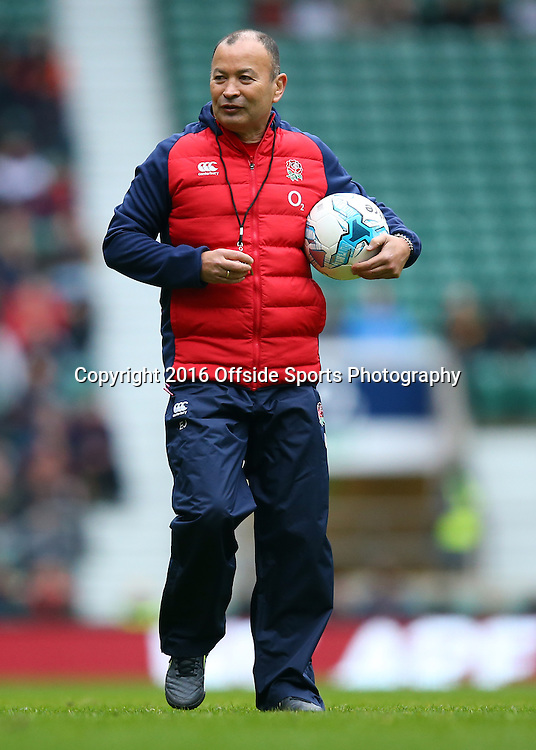 29 January 2016 - England Rugby Open Training Session - England Head Coach Eddie Jones clutches a football - Photo: Marc Atkins / Offside.