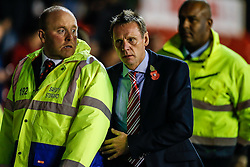 Nottingham Forest Manager Stuart Pearce makes his way past stewards to the dugout - Photo mandatory by-line: Rogan Thomson/JMP - 07966 386802 - 05/11/2014 - SPORT - FOOTBALL - Nottingham, England - City Ground - Nottingham Forest v Brentford - Sky Bet Championship.