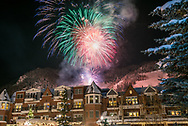 New Year's Eve fireworks over the Hyatt Grand Aspen hotel in Aspen, Colorado.