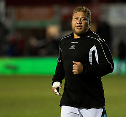 Glasgow Warriors' Siua Halanukonuka during the pre match warm up<br /> <br /> Photographer Simon King/Replay Images<br /> <br /> Guinness PRO14 Round 14 - Dragons v Glasgow Warriors - Friday 9th February 2018 - Rodney Parade - Newport<br /> <br /> World Copyright © Replay Images . All rights reserved. info@replayimages.co.uk - http://replayimages.co.uk