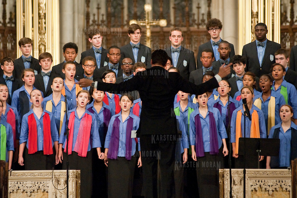 September 11, 2011 - Manhattan, NY : The Young People's Chorus of New York City, lead by founder and director Francisco J. Nunez (accent on the u and second n in last name) and accompanied by pianist Jon Holden (not pictured) performs at St. Patrick's Cathedral on Sunday evening.  CREDIT: Karsten Moran for The New York Times