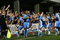 Photo: Rich Eaton.<br /> <br /> Hereford United v Wycombe Wanderers. Coca Cola League 2. 12/09/2006. Jermaine Easter #9 celebrates his second goal with teammates in front of the travelling fans