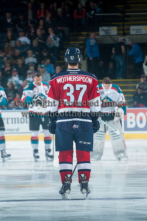 KELOWNA, CANADA - MARCH 28: Parker Wotherspoon #37 of Tri-City Americans lines up against the Kelowna Rockets on March 28, 2015 at Prospera Place in Kelowna, British Columbia, Canada.  (Photo by Marissa Baecker/Getty Images)  *** Local Caption *** Parker Wotherspoon;