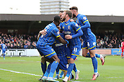 AFC Wimbledon celebrate Paul Robinson defender for AFC Wimbledon (6) goal during the Sky Bet League 2 match between AFC Wimbledon and Crawley Town at the Cherry Red Records Stadium, Kingston, England on 16 April 2016. Photo by Stuart Butcher.
