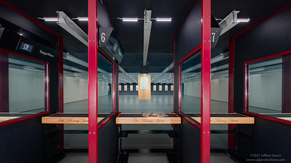 Interior Image of Elite Shooting Sports Indoor Shooting Range in Gainsville Virginia by Jeffrey Sauers of Commercial Photographics, Architectural Photo Artistry in Washington DC, Virginia to Florida and PA to New England