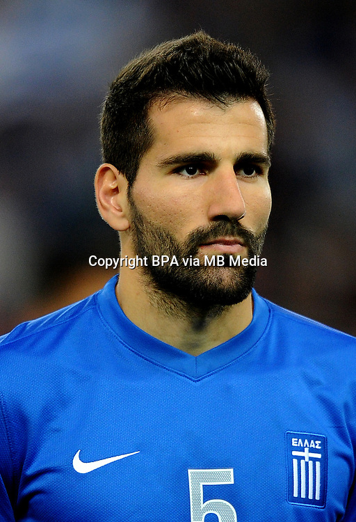 Football Fifa Brazil 2014 World Cup Matchs-Qualifier / Europe - Play-Off -1 Leg / <br /> Greece vs Romania 3-1  ( Karaiskaki Stadium  , Athens-Pireus , Greece ) <br /> Dimitrios SIOVAS of Greece  , during the match between Greece and Romania