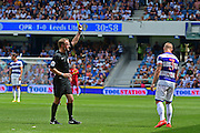 Queens Park Rangers defender Jake Bidwell (3) gets a yellow card during the EFL Sky Bet Championship match between Queens Park Rangers and Leeds United at the Loftus Road Stadium, London, England on 7 August 2016. Photo by Jon Bromley.