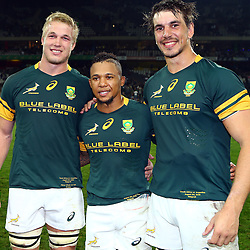 Nelspruit, SOUTH AFRICA, 20 August, 2016 - Pieter-Steph du Toit with Elton Jantjies and Eben Etzebeth of South Africa during the match between South Africa and Argentina in The Rugby Championship at the Mbombela Stadium, Nelspruit (Photo by Steve Haag UAR)