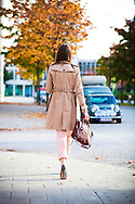 Women, Handbag, Coat, Walking, Sidewalk,