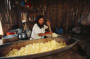 Machiguenga Indian mixing manioc for local brew<br />Timpia Community, Lower Urubamba River<br />Amazon Rain Forest, PERU.  South America
