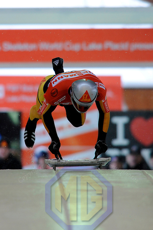 14 December 2007:  Peter Van Wees of the Netherlands competes at the FIBT World Cup Men's skeleton competition on December 14, 2007 at the Olympic Sports Complex in Lake Placid, NY.  The race was won by Eric Bernotas of the United States.