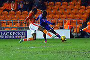 Blackpool Defender Hayden White challenges during the Sky Bet League 1 match between Blackpool and Oldham Athletic at Bloomfield Road, Blackpool, England on 16 February 2016. Photo by Pete Burns.