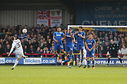 Northampton Town midfielder Matthew Taylor (31) takes a free kick during the EFL Sky Bet League 1 match between AFC Wimbledon and Northampton Town at the Cherry Red Records Stadium, Kingston, England on 11 March 2017. Photo by Stuart Butcher.